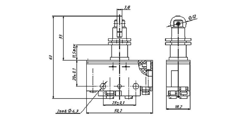 Габаритная схема выключателя ВП73-10532 00 УХЛ3